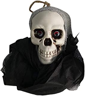 Fan-Ling Halloween Skull Hanging Ghosts Model,Horror Decorative Props Pendant Supplies,Fake Skull Party Prop,Halloween Decoration Toy Funny Novelty Ghost Scary Terror Skull Prop (Black)