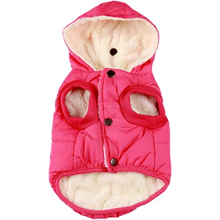 Vecomfy Fleece Lining Extra Warm Dog Hoodie in Winter,Small Dog Jacket Puppy Coats with Hooded Pink XS