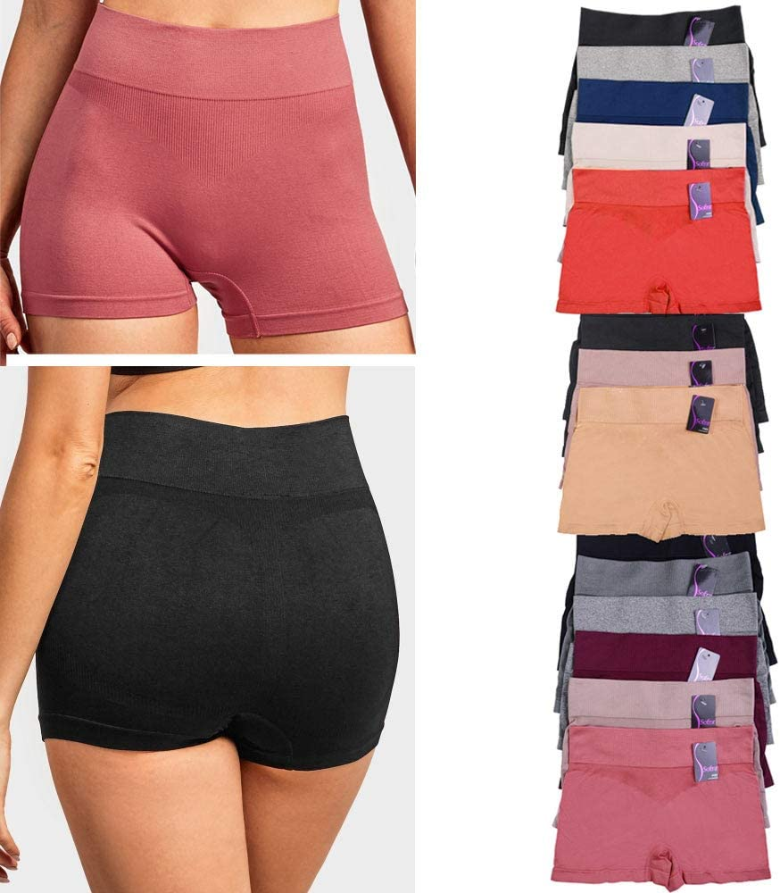 3 High Waist Seamless Boyshorts Panties Womens Underwear Boxer Briefs One Size : Clothing, Shoes & Jewelry