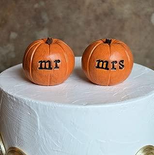 orange mr mrs autumn pumpkin wedding cake topper