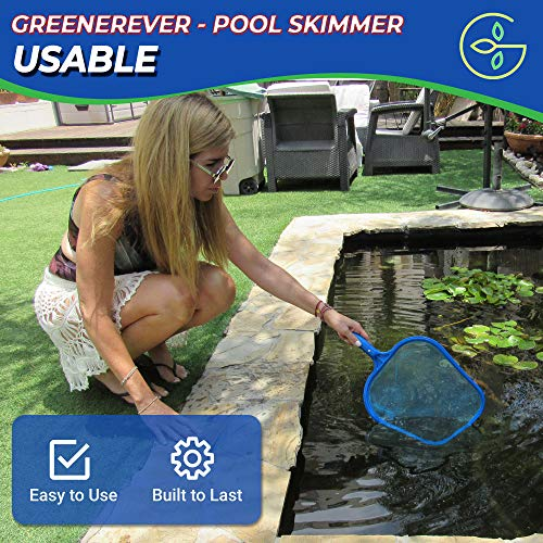 Greenerever Pool Skimmer Net with Pole 3.3Ft (1m) | Hot Tub Spa Leaf Cleaner Net | Plastic Framed Fine Mesh Net | Easily Removes Leaves, Debris, Small Particles from Pools, Spas, Hot Tubs, Ponds