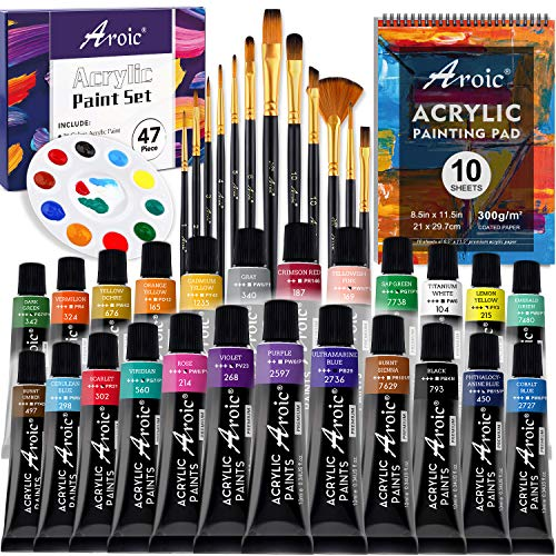 47 PCS Acrylic Paint Set with 12 PCS Paint Brushes24 Color Acrylic Paint 10 Page PadsA4 and A Palette,Professional Painting Supplies Kit for Adults Kids and Beginners