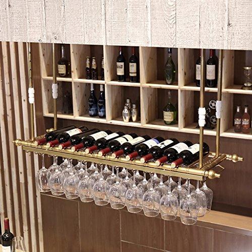 Estantería de vino SKC Lighting Barra de Colgar de Hierro Forjado Estante de Vino Boca Abajo Decoración del Estante del Vino Creativo Boom telescópico (60 cm, 80 cm, 100 cm, 120 cm, 150 cm)