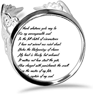 Poetry Quote Never Surrender Unbeatable Ring Adjustable Love Wedding Engagement