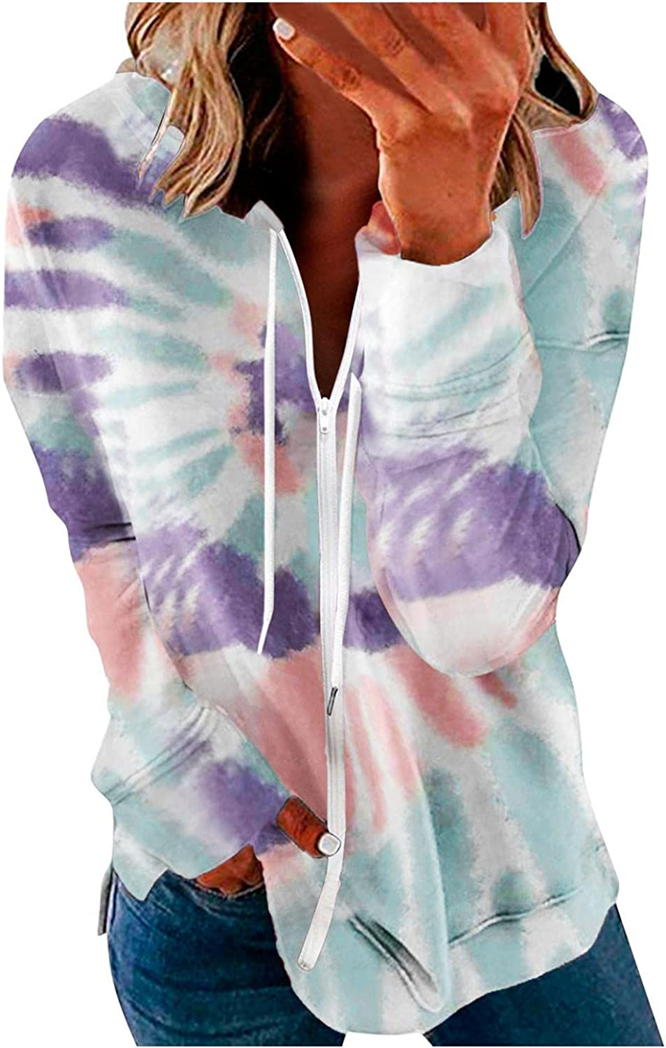 Jeepuch Hoodies for Women Long Sleeve Tie Dyed Zip Up Sweatshirt Loose Pullover Tops Activewear Jacket with Pocket