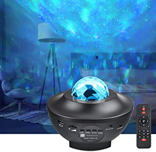 LED Projector Lights - COSANSYS Ocean Wave Star Sky Night Light with Music Speaker,Sound Sensor, Remote Control,360°Rotati...
