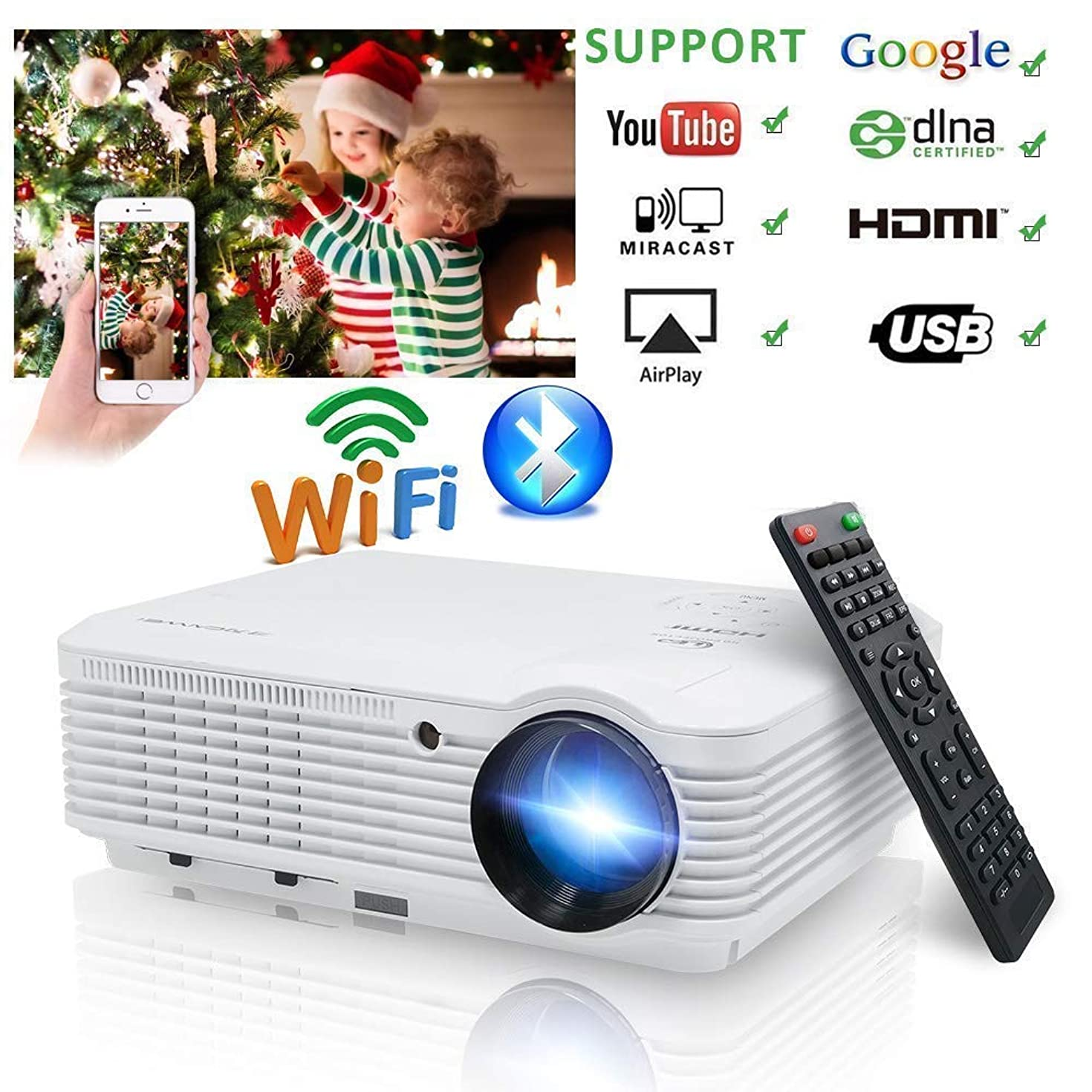 Video Projector 1080p 3900 Lumen, Wireless Proyector WiFi Bluetooth Android 6.0 HD WXGA Multimedia Home Theater LCD Projectors HDMI USB VGA for TV Phones Laptop Tablet DVD Xbox PS4 Game Outdoor Movies