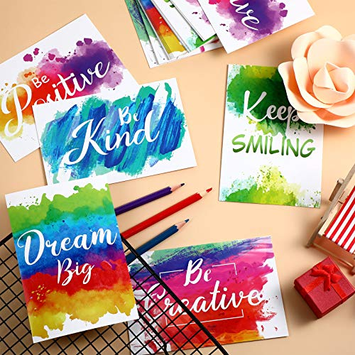 30 Pieces Inspirational Encouragement Greeting Postcards, Abstract Colorful Watercolor Paint Splash Motivational Greeting Cards Blank Note Cards for Office Classroom Teaching Supplies Photo #6