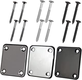 3 Pack Electric Guitar Neck Plate with Crews, SourceTon Guitar Neck Plate (Silver, Black, Gun Black) for Electric Guitar Part