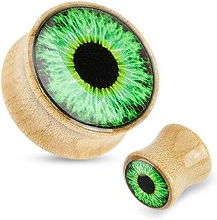 PAIR of Green Eyeball Logo Organic Wood Plugs/Tunnels - Gauge Body Jewelry