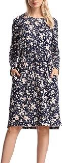 Soatrld Women's MiDi Dress O Neck Short Sleeve Casual Summer Dress with Elastic Waist and Side Pockets