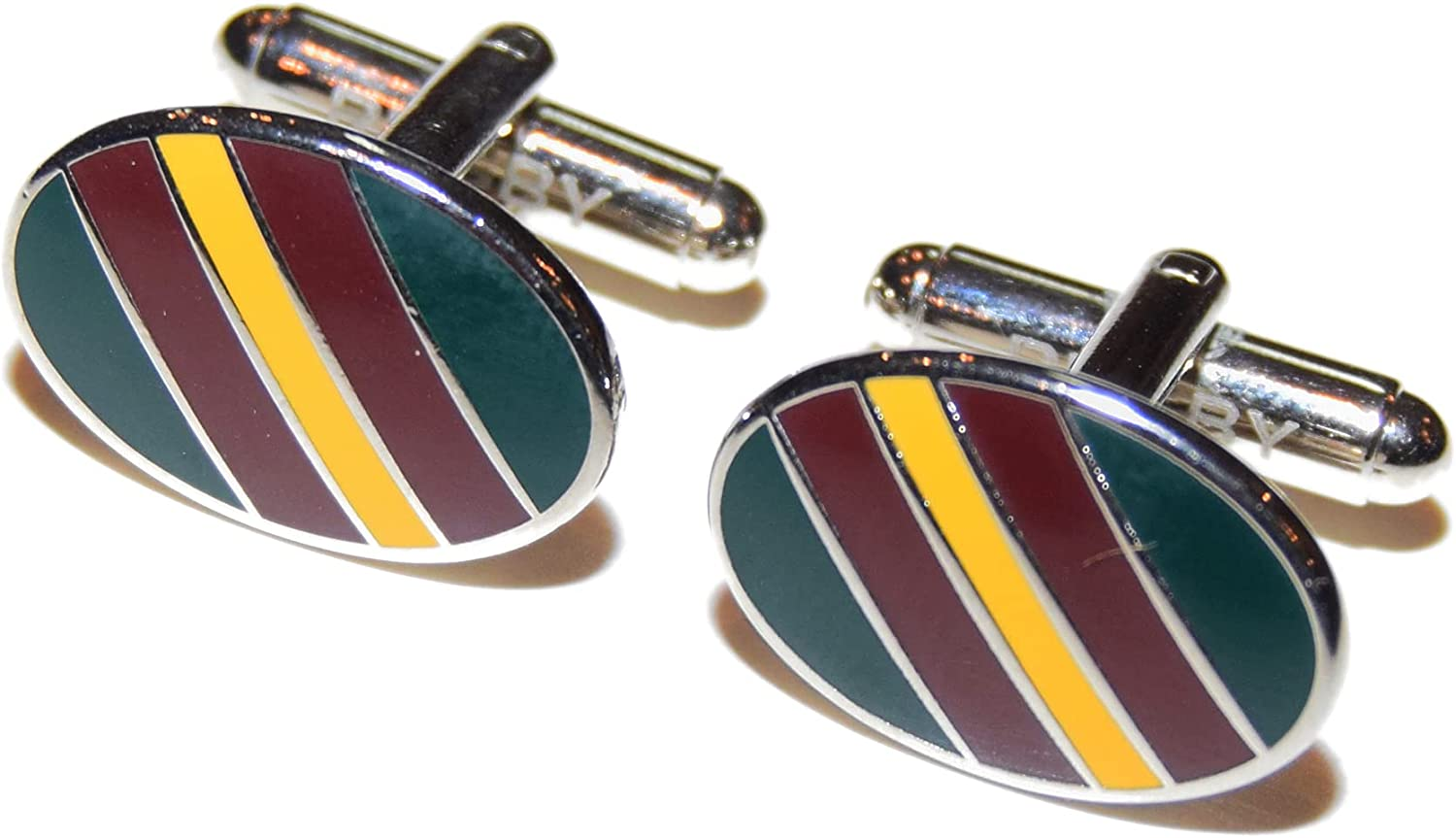 Polo Ralph Lauren Rugby Mens Stripe Cufflinks Maroon Red Yellow Olive Green $125