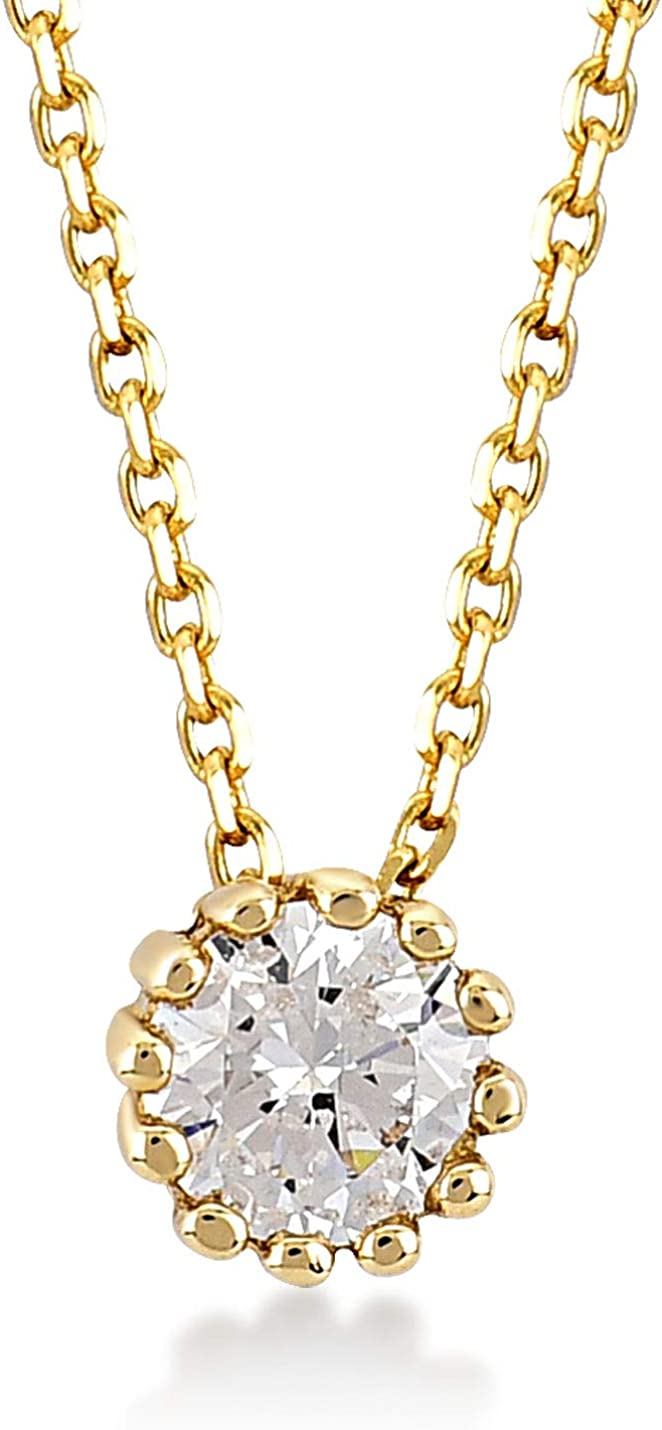 GELIN 14k Yellow Gold Round Solitaire Pendant Necklace for Women, 18