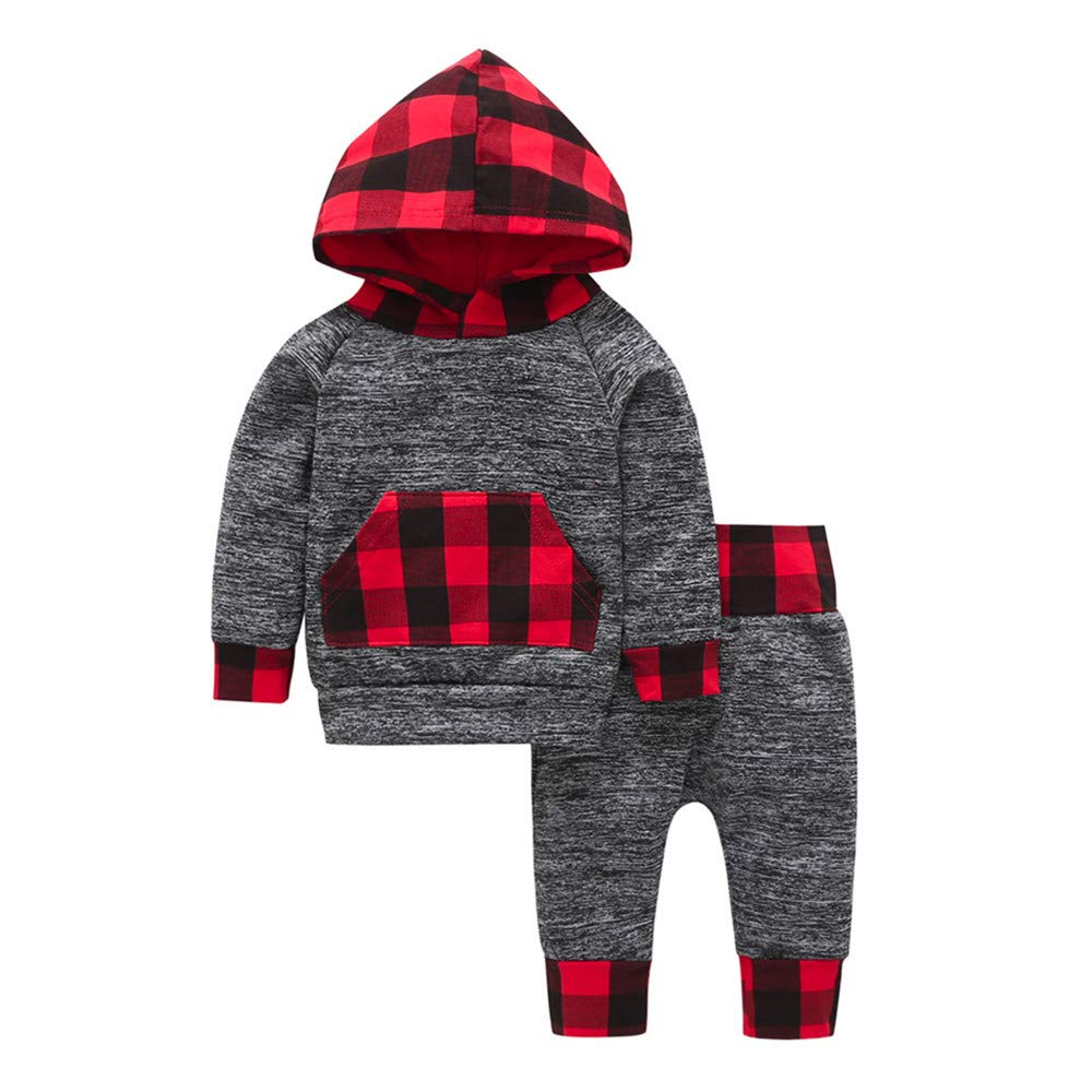 Baby Boys Girls Hoodie Tops+Pants Autumn Winter Outfits Infant Toddler Fineser Clothes Layette Set Cartoon Animal Print