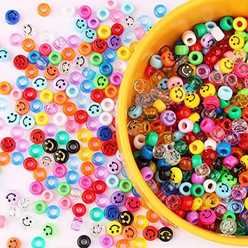 MiuCo 200 cuentas de hilo Emoji con forma de emoticono + 6 x 8 mm, perlas de pony, grandes orificios, multicolor, perlas acrílicas para manualidades para collares y pulseras