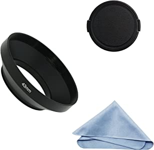 SIOTI Camera Wide Angle Metal Lens Hood with Cleaning Cloth and Lens C...