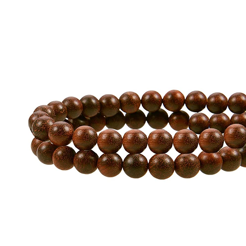 PH PandaHall About 100pcs 8mm Natural Round Polished Sandalwood Loose Beads for Jewelry Making DIY Handmade Craft, 15.7''(40cm)