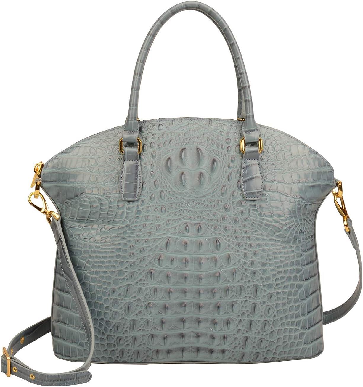 Ainifeel Women's Genuine Leather Designer Crocodile Large Top Handle Handbags Satchel Shoulder Bags