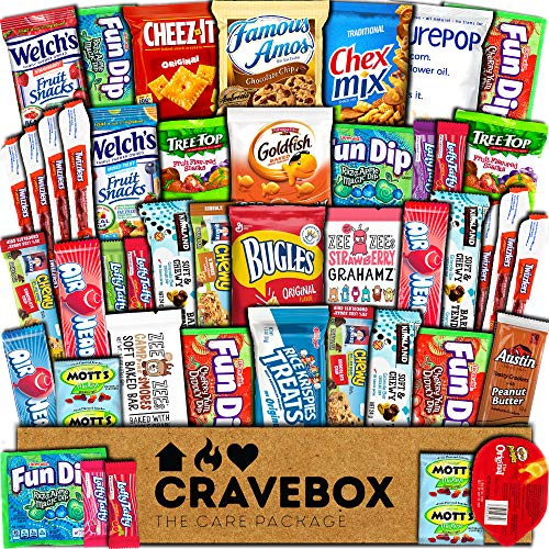 CraveBox Care Package (45 Count) Snacks Cookies Bars Chips Candy Ultimate Variety Gift Box Pack...