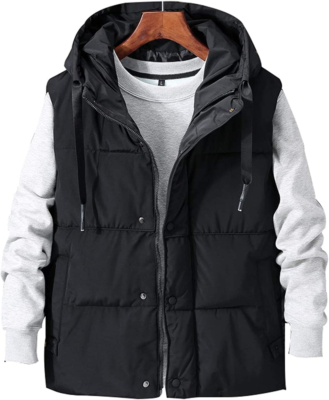 Zoulee Men's or Women's Stylish Padded Body Warmer Vest Hooded Loose Down Vest Removable