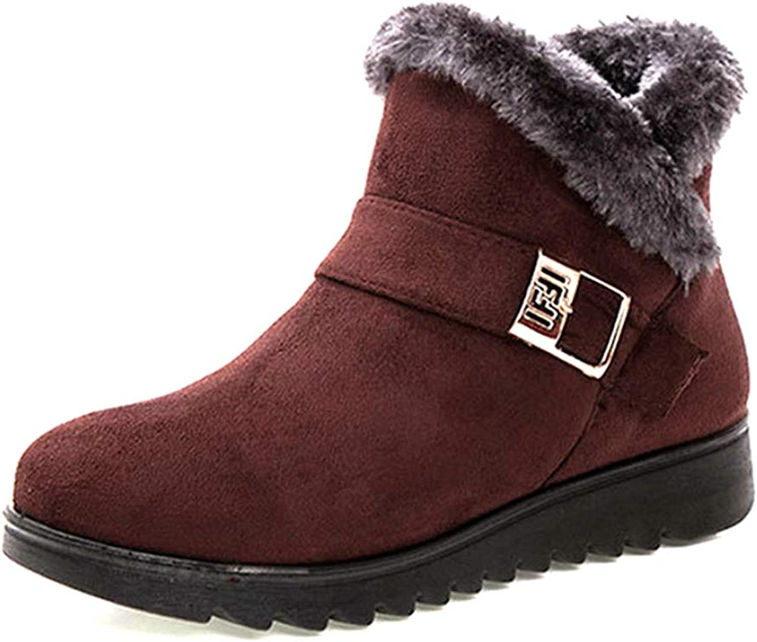 Fay Waters Womens Short Boots Fur Suede Flock Zip Buckle Thick Heels Winter Snow Ankle Booties