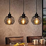 ZMH Pendelleuchte Vintage Schwarz E27 Pendellampe aus Metall Retro Esstischlampe 3-flammig max. 25 Watt 1200mm Höhenverstellbar für Esszimmer Küche Wohnzimmer Bar Restaurant