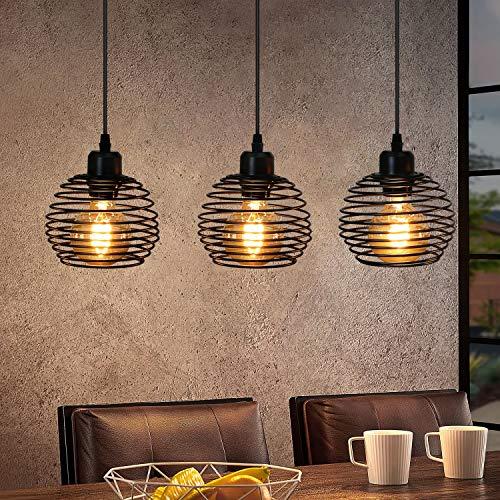 ZMH Lámpara colgante Vintage negra Lámpara colgante E27 de metal Lámpara de mesa de comedor retro 3 llamas, máx. 25 vatios, 1200 mm de altura ajustable, sin bombilla