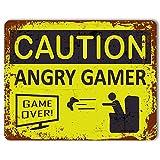 Targa metallica per porta, con effetto vintage e scritta in lingua inglese Caution: Angry Gamer , personalizzabile