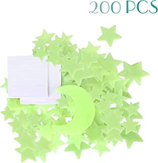 MUCH 200 Pcs Ultra Glow in The Dark Stars 3 Size Star & Bonus Moon Luminous Stickers for Kids Bedroom Easy to Remove (Adhesive Included)