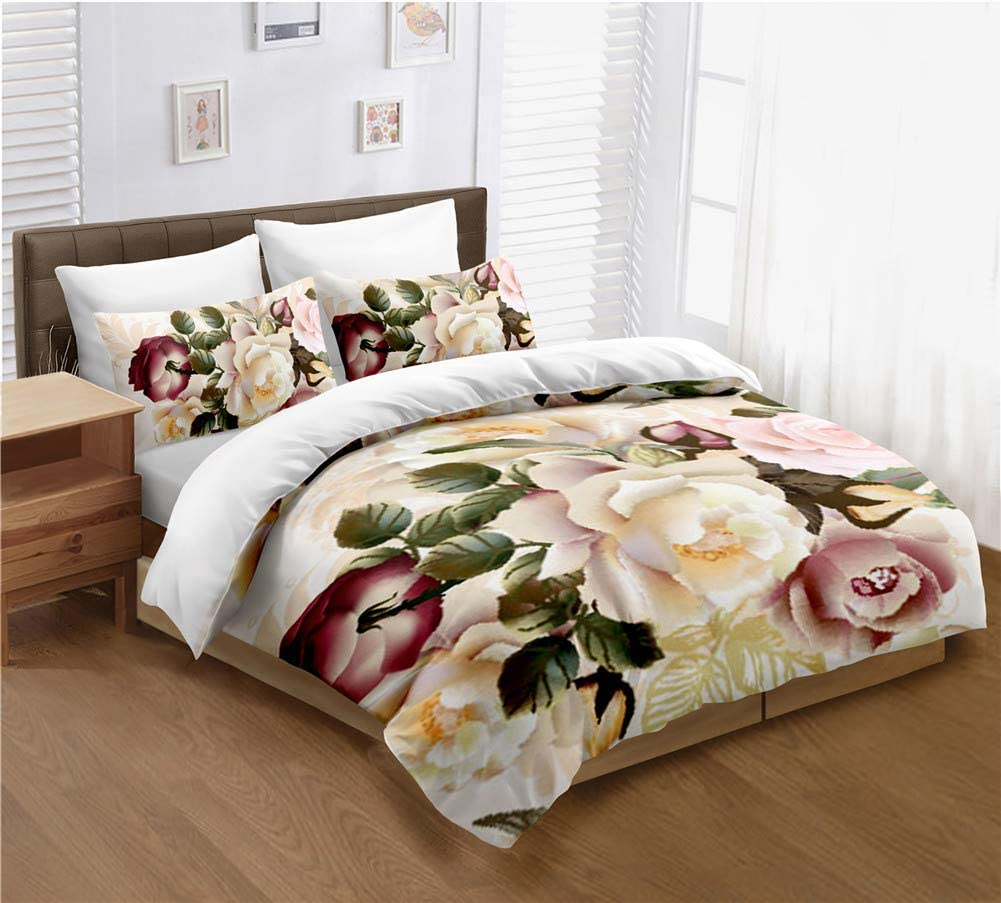 Yellow Peony Flowers Bedding lowest Tulsa Mall price Set Queen Cover Duvet Size White Qu