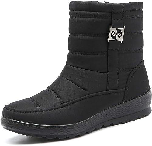 Ocio más botas de terciopelo de nieve mujeres de Color sólido mantener caliente impermeable invierno deslizamiento al aire libre en botines zapatos
