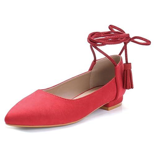 e2b0ab553 Allegra K Women's Ankle Tie Tassel Lace up Flats