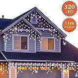 320 LED Tenda luminosa, Luci natalizie per interni e esterni, Bianco Brillante, Catene lum...