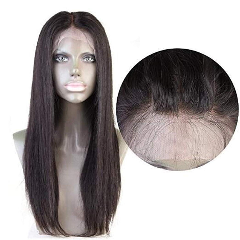 ダーリン古風なショップHOHYLLYA 360レース前頭閉鎖ブラジルストレートヘア360前頭ブラジルバージン人間の髪ロールプレイングかつら女性のかつら (色 : 黒, サイズ : 16 inch)
