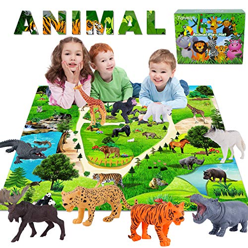 TEPSMIGO Safari Animals Figurines Toys with Activity Play Mat, Animal Toys for Boys Toddlers, Realistic Zoo Toys Safari Figures Plastic Woodland Animals with Tiger, Giraffe, Leopard, Gorilla for Kids