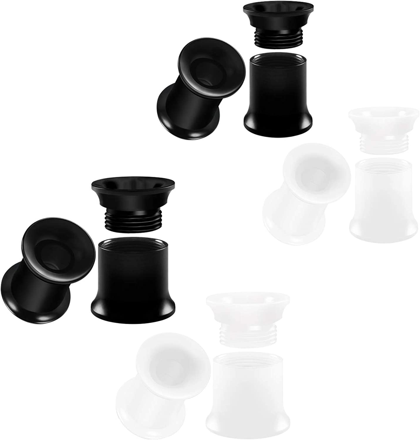BIG GAUGES 4 Pairs Black White Acrylic Double Flared Piercing Jewelry Ear Stretching Lobe Internal Screw-fit Flesh Tunnel Earring Plugs