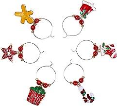 6 stuks Kerstmis Wine Glass Ring Ornament Ring Xmas Xmas decoratieve Wine Glass Markers Glasdrinkbeker Drink Tags