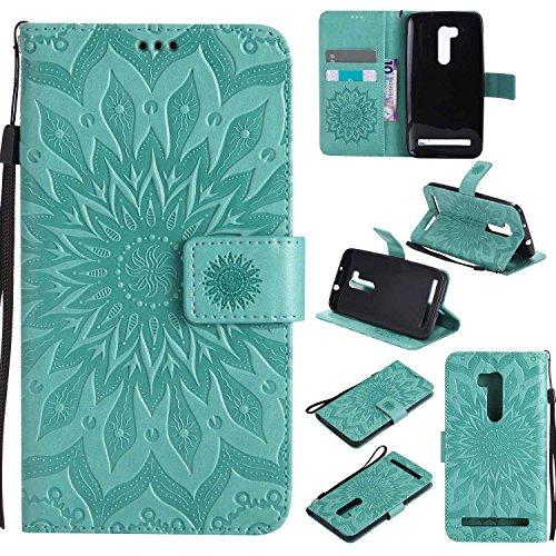 pinlu PU Leder Tasche Etui Schutzhülle für Wiko Pulp 3G (5 Zoll) Lederhülle Schale Flip Cover Tasche mit Standfunktion Sonnenblume Muster Hülle (Grün)