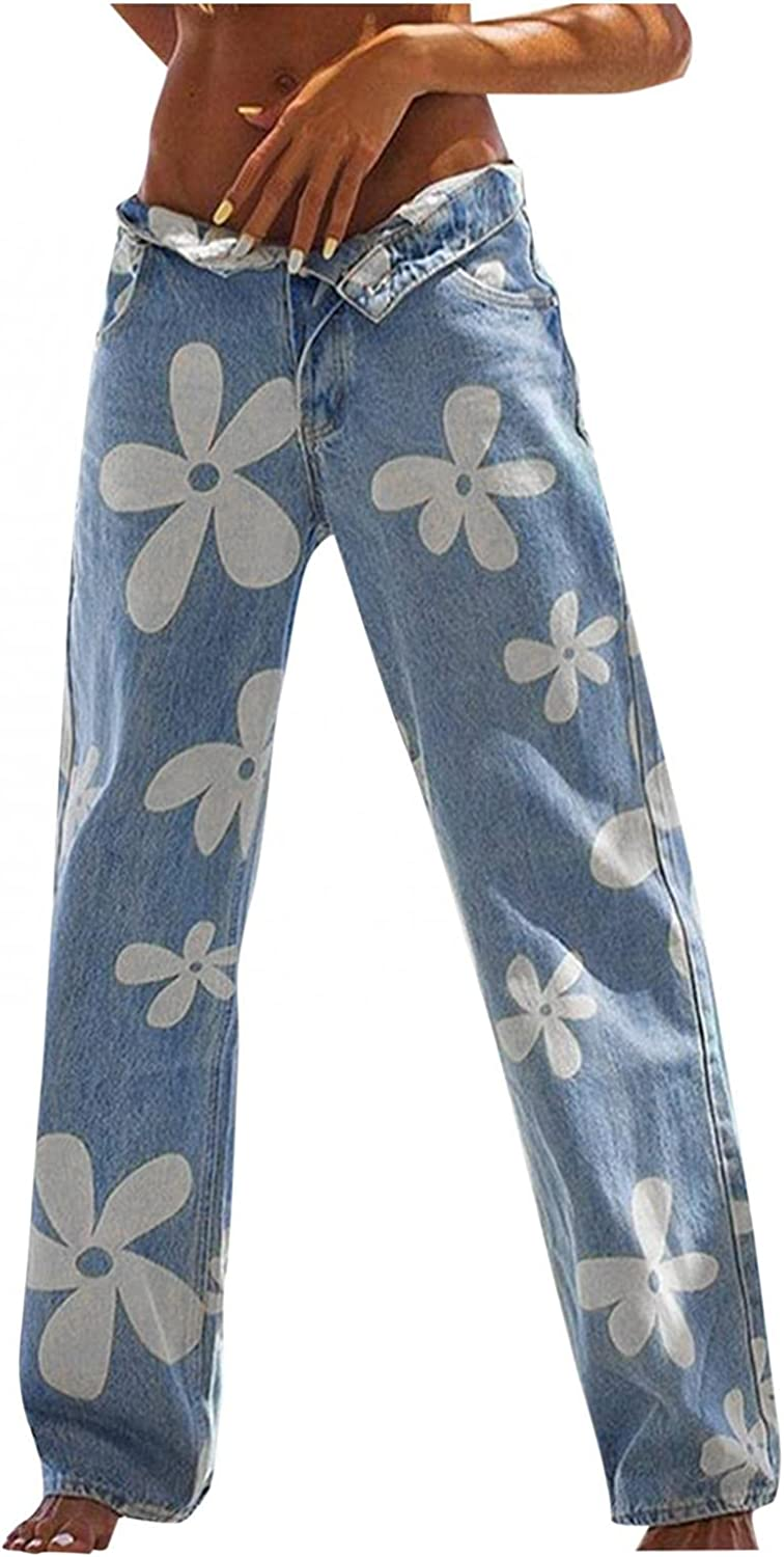 Aiouios Y2K Fashion Jeans for Women High Waisted Wide Leg Straight Jeans Floral Print Baggy Denim Pants Streetwear