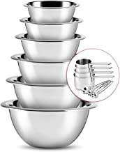 Stainless Steel Mixing Bowls - JoyTable Mixing Bowls For Kitchen - Mixing Bowl Set of 6 - Nesting Metal Mixing Bowls Set W...