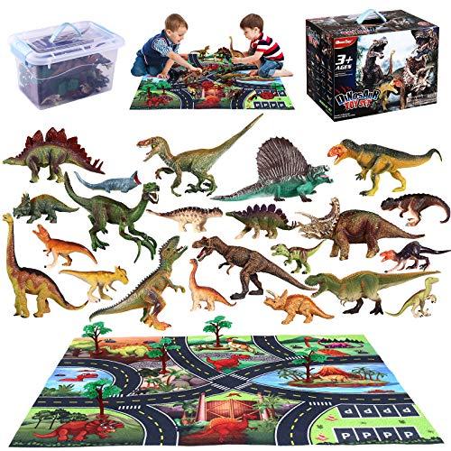 iBaseToy 43 Pcs Dinosaurier Spielzeug Set, Figur Dinosaurier mit Spielmatte, Bäumen und Zäunen, Geschenke für Kinder Jungen Mädchen ab 3 Jahre