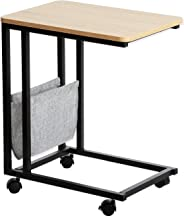Garwarm Sofa Side End Table, Laptop Holder,Portable Snack End Table for Coffee Tablet Notebook Bedside,Reclaimed Wood Look Accent Furniture with Metal Frame and Rolling Casters