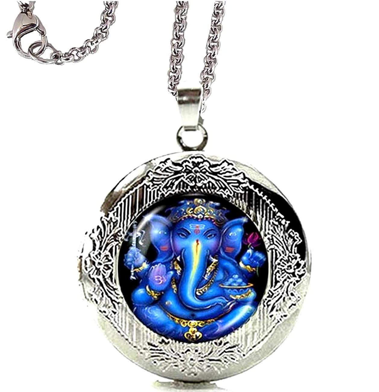 DianaL Boutique Silver Tone Lord Ganesh Ganesha Locket Pendant Necklace with 24