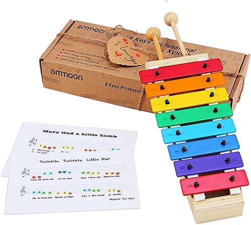 ammoon Xilófono Glockenspiel 8 Teclas Tamaño Compacto con Baquetas de Madera Percusión Juguete de Instrumentos Musica...