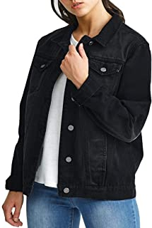 veste courte en jean extensible noir
