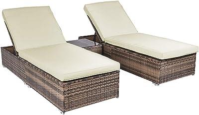 Amazon.com: Mimbre Rattan chaise lounge silla Set Patio ...