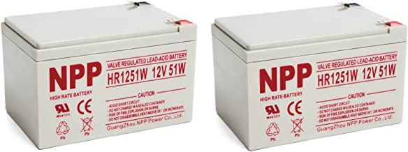 NPPower High Rate HR1251W 12V 14Ah SLA Sealed Lead Acid UPS Battery with F2 Style Terminals / (2pcs)