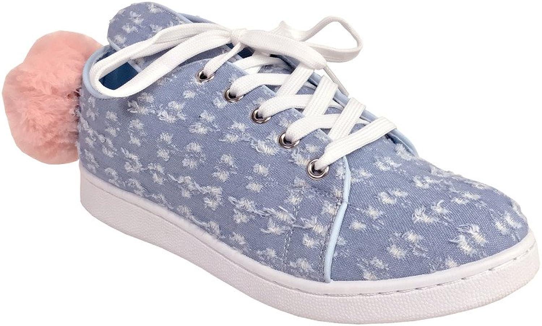Qupid Pantera 1  Women's Bunny Ear Lace Up Platform Pompom Sneakers