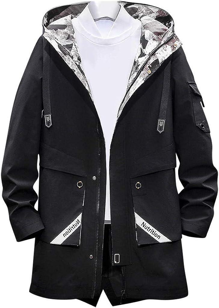 VEZAD Store Men's Jacket Cool Trench Coat Mid-Length Outdoor Sport Hoodie Windbreaker