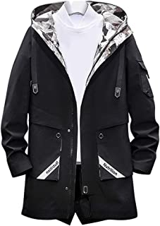 Mens Casual Jackets with Hood Lightweight,Winter Windproof Warm Loose Fit Outdoor Sport Coat with Zipper Pockets